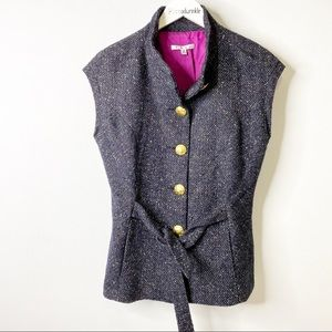Cabi All Tied Up Tweed Wool Blend Vest Size M